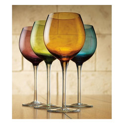 Home Essentials - Tuscana Set of 4 Colored Wine Goblets - These elegant colored wine goblets will make quite an impression at your next dinner party, thanks to its warm blue color, clean look, and graceful contours making it the right choice for formal occasions or everyday use. * 10 oz * Dishwasher Safe * Set of 4 * Gift Boxed