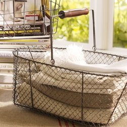 "Wire Market Basket - Get a little extra storage out of this vintage modern wire basket. Whether you fill it with magazines or roll up extra towels in it, it will add big style to your room.Made of steel with a carved wooden handle.17.5"" long x 10"" wide x 13.5"" high"