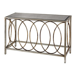 Sterling Industries - Rings Console Table with Mirrored Top - Large metal rings are hand formed and interlinked to create this modern console table. The finish of gold and Silver s with antique and mirrored top make this piece more transitional and chic.
