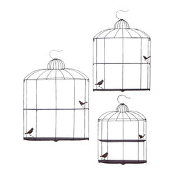 Benzara - Bird Cage Design Metal Shelf in Metallic Silver Finish - Set of 3 - Finding a metal shelf that would suit all your needs is next to impossible. But not when you have this uniquely designed set of three. It has a beautiful metallic silver finish and has many features that would suit your needs. It comes in a set of three - small, medium and large. The shelf is designed uniquely, thanks to its high metal quality that is extremely durable. It is corrosion resistant and provides a lot of shelf space that helps in keeping all the things you want to store. Its intricate design is sure to win many hearts. Even if it doesn't occupy much space in your room, it is sure to occupy space in your hearts!. It is available in 3 size variants - 32 in.  H x 23 in.  W x 4 in.  D, 38 in.  H x 27 in.  W x 4 1/2 in.  D, 43 in.  H x 31 in.  W x 4 1/2 in.  D.