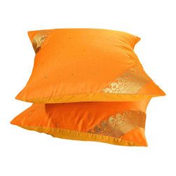 Indian Selections - Set of 2 Pumpkin Decorative Handcrafted Sari Cushion Cover, 26x26 inches - 6 Sizes available