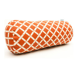 Majestic Home - Outdoor Burnt Orange Bamboo Round Bolster - Your decor — indoors or out — is really on a roll with bolster. Since the fabric's been treated with UV protection, the bamboo print will keep its good looks when the sun beats down.