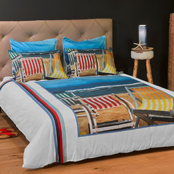 """ARTnBED - Beach Duvet Cover - """"Beautiful Day"""" - The sky is blue, the sun is shining, perfect waves and silky sand. What else could we ask for? You may be far from the beach but your rest is assured with this duvet cover graced with a large digital print of the painting """"Beautiful Day"""" by the artist Arie Azene. Inspired by a perfect day at his favorite Mediterranean beach,Arie paints tranquility and relaxation in shades of blue and sand."""