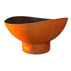 "Fire Pit Art - Scallops Outdoor Fire Pit - The delicate scalloped edges of thte Scallop Fire Pit mimic a gentle rolling tide. Bring a touch of the sea to your outdoor fires with its soothing aesthetic. Made from 1/4"" thick mild carbon steel, this durable pit a high temparture resistant inner bowl with rain drain. For a truly maintenance-free experience, it's made of American steel which offers corrosion and rust restistance for longevity during extended outdoor use. A charming outer iron oxide patina ages and darkens with time and is maintenance free.  Each dyanmic fire pit is numbered by the artist and reflected on an attached brass plate. Overall height of 22"" and a diameter of 36"".SpecificationsDimensions: (diameter x height)    Overall: D 36"" x  H 22""Material: 1/4"" Thick Mild Carbon SteelUse: Outdoors in outdoor living spacesMore Info: Pre-drilled rain drain for carefree maintenance      Warranty: 10-year warranty (after date of purchase)  Made in: USA (Made in America)"