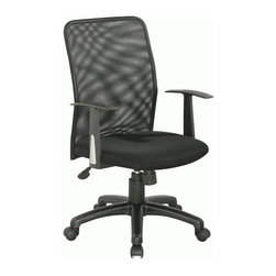 Chintaly - High Back Office Chair - Fabric upholstered. PP base. Black finish. Arm height: 24.41 - 28.35 in.. Seat height: 17.32 - 21.26. Minimum: 22.83 in. W x 21.65 in. D x 33.46 in. H. Maximum: 22.83 in. W x 21.65 in. D x 37.40 in. H
