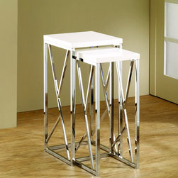 None - Functional White Chrome-Finish Nesting End Tables (Set of 2) - These decorative nesting end tables add a modern flair to any home decor. The set's chrome and glossy white color provides an elegant background for lamps, plants, or other ornamental knickknacks. For easy storage, simply nest tables together.