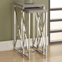 Monarch - Dark Taupe Reclaimed-Look/Chrome 2Pcs Plant Stands - With its dark taupe reclaimed wood-look tops, this 2 piece plant stand set gives an exceptional look to any room. Its original criss-cross chromed metal base provides sturdy support as well as a contemporary look. Use this multi- functional set to place your favorite plant, or decorative piece. This set will be a sure eye catcher!
