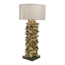 Foreign Affais Home Decor - SPIKES Table Lamp - Handcrafted table lamp made from pieces of teak wood with white conical shade. This standing lamp fits in well in both traditional and modern environments.