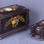 AA Importing - Painted Floral Decorative Wooden Boxes in Bla - Set of 2. Floral design. Set includes small and large wooden boxes. Small: 9.5 in. L x 4.5 in. H. Large: 14 in. L x 8 in. H