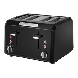 "Waring Pro - Waring Pro 1800-Watt 4-Slice Cool-Touch Toaster, Black - Four 1.3""-wide toasting slots"