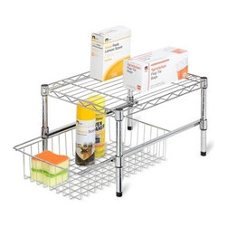 "Adjustable Shelf With Under Cabinet Organizer - Honey-Can-Do SHF-01867 Adjustable Shelf with Basket Cabinet Organizer, Chrome.  A flexible storage solution that adjusts in height to accommodate tall or shorter items in most cabinets. The contemporary design and brilliant chrome finish present a polished look when you open your cabinets. Handy and sizable, the wire basket pulls out for easy access to the contents inside and can be made to be removable, if desired.  This shelf works great in cabinets that are 18""W or larger."