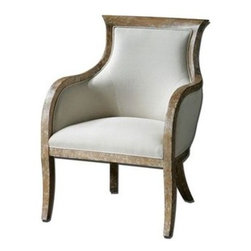 "Uttermost - Uttermost 23080 Quintus Linen Armchair - Almond stained, distressed solid white mahogany with antiqued, toffee crackle paint finish-Light Bath Lighting soft linen covering blended with cotton trimmed in welt-Light Bath Lighting Teflon(R) treated for soil resistance. Seat height is 18.5""."