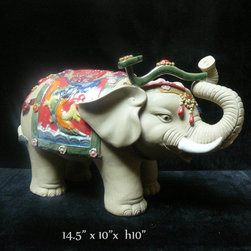 Handmade Ceramic Elephant Up Trunk Ru Yi Figure - This is a delicate hand made elephant figure with plain skin color and charm accent on the body.