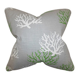 The Pillow Collection - Hafwen Gray and Green 18 x 18 Coastal Throw Pillow - - Pillows have hidden zippers for easy removal and cleaning  - Reversible pillow with same fabric on both sides  - Comes standard with a 5/95 feather blend pillow insert  - All four sides have a clean knife-edge finish  - Pillow insert is 19 x 19 to ensure a tight and generous fit  - Cover and insert made in the USA  - Spot clean and Dry cleaning recommended  - Fill Material: 5/95 down feather blend The Pillow Collection - P18-PP-ISADELLA-COASTALGREEN-N