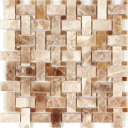 Stone & Co - Crema Caramel Onyx Polished Basketweave Mosaic Tile - Crema Caramel Onyx Polished Basketweave Mosaic Tile
