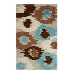 Grandin Road - Ashwood Puddle Jumper Indoor Area Rug - 2' x 3' - Beautifully hand-tufted. Durable 100% polyester. Heavyweight denim/cotton backing. Indoor use only. Easy to care for. The plush Ashwood Puddle Jumper Indoor Area Rug weaves an artistic pattern full of dynamism and muted hues. Impressionist rings of solid magenta, cream, black and light blue elegantly ripple amongst a grey backdrop for an engrossing piece filled with aquatic imprecision.  .  .  .  .  . Imported.
