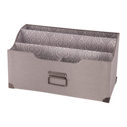 "Enchante Accessories Inc - Raymond Waites Gray Burlap Letter Sorter - Burlap letter sorter  Four compartment design to hold small and large envelopes and papersPerfect for use in any office or entry way  Vintage print fabric lining with hardware accentsMeasures 12.9 in. x 6.2 in. x 6.9 in.Sort letters, papers, or incoming and outgoing mail inside this stylish gray burlap letter sorter from Raymond Waites.  The Raymond Waites Gray Burlap Letter Sorter is made from natural burlap fabric and features a soft gray color with a vintage inspired gray and white printed lining, metal accents in the bottom corners to resist against wear and tear, and a metal handle that adds a charming touch to the front.  With its structured shape and sturdy design, this letter sorter can be used for storage in your office, placed on your desk surface to organize papers, or positioned on a table in your entry way to organize and separate incoming and outgoing mail and magazines.  The top of this letter sorter has a gently curved edge that gives it a stylish profile and makes it look great from any angle.This letter sorter is divided into four separate compartments.  The front compartment is divided into two small areas, perfect for holding standard sized envelopes upright or for use as a way to hold pens, pencils, and other small supplies.  The two large compartments in the back can be used to stash small or large envelopes or hold standard letter sized papers and documents.  No matter what you choose to stash inside, this letter sorter adds a touch of beauty and vintage charm to any space it occupies.  Pair this letter sorter with a matching desktop tray to organize office supplies and a studded burlap file tote for a classic, coordinated look.  For the decorator who likes coordination but doesn""t like the look of a matched set, the neutral gray color makes it incredibly easy to mix and match this letter sorter with organizers and storage bins in different colors and patterns.  The versatile design of this piece also makes it suitable for use in a kitchen or mud room and can be used to hold take out menus, recipe cards, or any other loose papers that you need to keep organized and contained in one space."