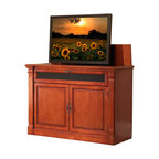 """Adonzo TV Lift Cabinet For Flat Screen TV's Up To 55"""" - One of our most popular units, the traditionally styled Adonzo TV lift cabinet has been enhanced with a front facing drop-down media shelf designed to hold your center channel speaker, sound bars, or other compact media components, all in perfect alignment with your flat screen TV."""