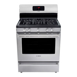 "Bosch 500 Series Evolution Stainless Steel Gas Range - This great looking pro-style 30"" stainless steel range has 5 burners, convection oven and it's a great price!The oval shaped burner in the center allows you to slide your pots across the top easily as well."