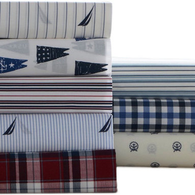 Nautica - Nautica Cotton Blend Wrinkle-resistant Printed Sheet Set - Add style and comfort to your sleep with this charming wrinkle-resistant printed sheet set. These modern sheets are available in a variety of prints to mix and match back to your Nautica bedding.