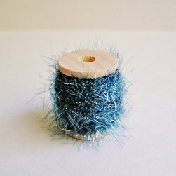 Marine Blue Petite French Tinsel Trim by The Gilded Bee - Replace your regular ribbon and wrap gifts instead with this ethereal tinsel. It looks almost like a delicate frost has set on your presents.