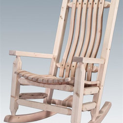 Montana Woodworks - 27 in. Adult Rocking Chair - Hand crafted. Sawn square timbers and trim pieces for rustic timber frame design. Heirloom quality. Solid lodge pole pine. Contoured seat slats for comfort fit. Made from U.S. solid grown wood. Lacquered finish. Made in U.S.A.. No assembly required. 27 in. W x 33 in. D x 44 in. H (35 lbs.). Warranty. Use and Care InstructionsFrom Montana Woodworks, the largest manufacturer of handcrafted quality log furnishings in America comes the all new Homestead Collection line of furniture products. This cozy rocking chair will ease your worries away with it's gentle back and forth motion. Standard economically designed and built to ensure hours of comfortable use, it is also designed and built to last for generations; truly an heirloom quality piece. You will be delighted with the artistry and the quality materials of this chair; your granddaughter can rock her child to sleep just as you rocked her mother years before. Each piece signed by the artisan who makes it.