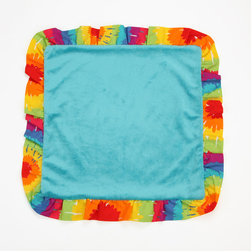 "Terrific Tie Dye - Binky Blanket - Binky blanket is designed in aqua blue minky on front and back and ""Tie Dye"" cotton print fabric trim."