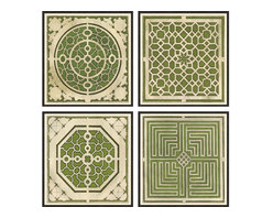 Soicher-Marin - Large Garden Plans, Set of 4, Green - Giclee Print with a Black Ornate wooden frame with decorative line pattern floated on an off white mat.  Set of four prints. Each individual print is 36.75 inches square.  Includes glass, eyes and wire. Made in the USA. Wipe down with damp cloth