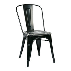 Office Star - Office Star Bristow Metal Chair in Black and Cameron Ash (Set of 2) - Office Star - Dining Chairs - BRW2932C306 - OSP Designs Bristow Metal Chair with Vintage Wood Seat (Black Finish Frame and Ash Crazy Horse Finish Seat)(2-Pack). Take a further step into style when you purchase the stylish, vintage metal chair.