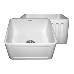 Whitehaus Collection - Whitehaus WHFLCON2018 20 Inch Reversible Fireclay Farmhouse Kitchen Sink - Whitehaus now offers its world famous fluted farm sink in this convenient 20 size. Reversible farm sinks gives you the choice to use the fluted front apron or the classic concave.