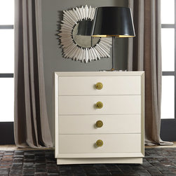 "Modern History - Modern History Home Mod Bedside Chest Ivory - This Modern History bedside chest exudes contemporary style. On a rectangular silhouette, four glide drawers with round brass pulls offer a contemporary contrast to the furnishing's ivory hue. 30""W x 19""D x 31.5""H; Venetian oak"