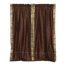 Indian Selections - Pair of Brown Rod Pocket Sheer Sari Cafe Curtains, 43 X 36 In. - Size of each curtain: 43 Inches wide X 36 Inches drop .