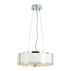 Trans Globe Lighting - Opal Chrome 16-Inch Five Light Adjustable Height Pendant with Double Glass - - Add contemporary, clean style with this fabulous pendant. Adjustable height to suit your own home  - 5 Light Pendant  - Adjustable height pendant  - Clear outer glass  - Opal inner glass  - Double glass fixture with frosted glass light diffuser on bottom  - Matching indoor collection  - Double Glass with clear outer glass and opal inner glass, frosted glass diffuser on bottom  - Material; Metal  - Bulbs not included Trans Globe Lighting - 2093 PC