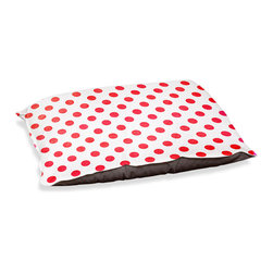 "DiaNoche Designs - Dog Pet Bed Fleece - Colored Dots Red - DiaNoche Designs works with artists from around the world to bring unique, designer products to decorate all aspects of your home.  Our artistic Pet Beds will be the talk of every guest to visit your home!  BARK! BARK! BARK!  MEOW...  Meow...  Reallly means, ""Hey everybody!  Look at my cool bed!""  Our Pet Beds are topped with a snuggly fuzzy coral fleece and a durable underside material.  Machine Wash upon arrival for maximum softness.  MADE IN THE USA."