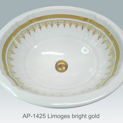 """Hand Painted Undermounts by Atlantis Porcelain - """"LIMOGES"""" Shown on AP-1425 white Antigua medium undermount 17""""x14"""".Available on bright gold or platinum."""