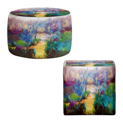 DiaNoche Designs - Ottoman Foot Stool by Ruth Palmer - And God Saw That It Was Good - Lightweight, artistic, bean bag style Ottomans.  Coming in 2 squares sizes and 1 round, you now have a unique place put rest your legs or tush after a long day!. Artist print on all sides. Dye Sublimation printing adheres the ink to the material for long life and durability. Printed top, khaki colored bottom, Machine Washable, Product may vary slightly from image.