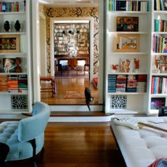 eclectic  Living room library (via A Bloomsbury Life)