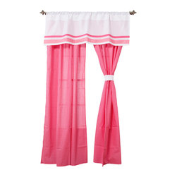 "Simplicity Hot Pink - Drapes - Simplicity Hot Pink drapes add detail and style to the entire room.  Drapes come with two panels and tie backs.  Designed in ""Pink Dots"" cotton print fabric.    Tie backs in solid white.   All in cotton fabric."