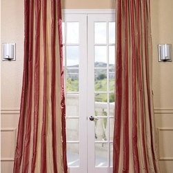 Half Price Drapes - Rialto Faux Silk Taffeta Stripe Single Panel Curtain, 50 X 84 - - Defined by a unique sheen and fine weave, our Exclusive Poly Taffeta Curtains & Drapes are gorgeous and timeless. Our Taffeta drapes have a crisp smooth finish in striped patterns. The Poly Taffeta fabric provides you with a quality, cost saving alternative.   - Single Panel   - 3 Rod Pocket   - Corner Weighted Hem   - Pole Pocket with Back Tab & Hook Belt Attached. Can be hung using rings. (Not Included)   - Dry clean   - 100% Polyester   - Lined with a cotton blend material  - 50x84   - Imported   - Multi-Colored Half Price Drapes - PTSCH-11095-84