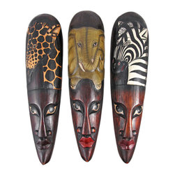 Zeckos - Set of 3 African Wildlife Wooden Wall Masks - Made in Indonesia, this set of African mask wall hangings is hand-carved from dark Albesia wood. Each mask measures approximately 19 inches tall, 5 inches wide and 2 inches deep. This trio of masks looks great on walls in patios, outdoor tiki bars or any other jungle themed room. Each mask features a hand painted headdress with complementary animals. This set makes a great gift for friends and family.