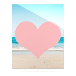"""Kess InHouse - Bree Madden """"Heart Beach"""" Pink Sand Metal Luxe Panel (24"""" x 36"""") - Our luxe KESS InHouse art panels are the perfect addition to your super fab living room, dining room, bedroom or bathroom. Heck, we have customers that have them in their sunrooms. These items are the art equivalent to flat screens. They offer a bright splash of color in a sleek and elegant way. They are available in square and rectangle sizes. Comes with a shadow mount for an even sleeker finish. By infusing the dyes of the artwork directly onto specially coated metal panels, the artwork is extremely durable and will showcase the exceptional detail. Use them together to make large art installations or showcase them individually. Our KESS InHouse Art Panels will jump off your walls. We can't wait to see what our interior design savvy clients will come up with next."""