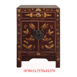 Nightstand End Table Chinese Brown Gold Butterfly Cabinet - This is a Chinese brown nightstand end table which is made of solid elm wood. The front of cabinet has gold butterfly hand painting on it.