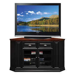 "Leick Furniture - 36""H x 62""W Corner TV Stand in Black Cherry Finish - This 46"" wide Corner TV Stand settles your TV back into the corner and reclaims valuable floorspace. Finished in a two-tone black and cherry with aged metalware accents, it is solidly built from solid wood and wood veneers and holds popularly sized TV's up to 46"". Tempered glass doors keep components dust free on three adjustable shelves. Beautifully engineered, this console assembles easily in minutes. Multiple component storage behind two decorative wood doors with beveled glass; Three adjustable compone shelves; Full side return moldings; Cord management access; Two-tone black & cherry finish; Knockdown; Assembles easily in minutes with our hinge method construction; Riley Holliday Collection; Material: Hardwood solids & oak veneers; Weight: 147 lbs; Dimensions: 20""L x 62""W x 36""H"