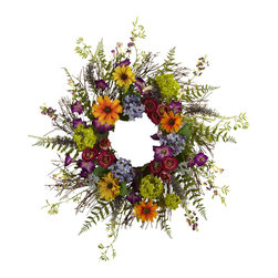 Nearly Natural - Nearly Natural 24 inches Spring Garden Wreath w/Twig Base - Say hello to Spring sunshine, no matter what time of year it is. This pretty 24� Spring Garden Wreath takes everything we love about spring, and wraps it into a never-ending circle of colorful sunshine! With a vast array of springtime blooms, sprigs, and twiggy base, it looks so real even the bees will be fooled! Makes an ideal home or office decoration, and a fine gift as well.