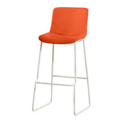 "Diamond Sofa - Diamond Sofa Contemporary 2-Pack Barstool with Chrome Base in Orange (Set of 2) - The sophisticated, modern style of this stool from Diamond Sofa exudes character with its high back seat providing full support and comfort. Instantly will add style to your room's decor. With its Brown, Orange and White leatherette options on the sleek chrome frame, it's a must have for any setting. Seat Height is 30"". Stools are packaged and sold in sets of two."