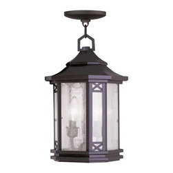 """Livex Lighting - Livex Lighting 2317 Tahoe Outdoor Pendant - Livex Lighting 2317 Tahoe Two Light Outdoor PendantWith a modern twist on the classic lantern motif, the Tahoe two light outdoor pendant showcases a beautifully subtle Asian inspired design. With a tiered cone shaped roof, octagonal cross section, natural looking seeded glass, decorative """"x"""" shaped accents, and interesting five sided ring on top, the Tahoe is a perfect way to update and enhance the look of your home.Livex Lighting 2317 Features:"""
