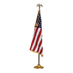 US Flag Embroidered Pole Hem Fringe - Indoor Display or Parade Flag This U.S. banner flag is finished with a lined pole hem, leather tabs and golden yellow fringe. Made from 200 denier nylon, this flag has a rich high gloss appearance, and is perfect for indoor display and parades.