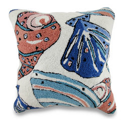 Zeckos - Colorful Seashells Hooked Decorative Throw Pillow 18 in. - Add a colorful pop of beach-side charm brimming with decorative flair to your guest bedroom, to your garden room chaise or a seaside cottage with this fun seashell inspired throw pillow. It features a white 100% cotton canvas cover with a hidden zipper on the back to easily remove the polyester filled insert to spot clean the cover as needed, and measuring 18 inches high by 18 inches long (46 cm by 46 cm), it'll easily blend in with most existing nautical or natural style decor, and it's perfect to toss on the bed or tuck under your arm, and the super soft hooked acrylic face adds an artistic touch, too! This pillow would make a wonderful gift for any seashell collector or beach lover in your life.