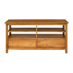 A.A. Laun Furniture - Loft Entertainment Console w Open Shelves (Praline) - Finish: Praline. Pictured in Praline color. Contemporary style. Solid maple top, fronts, legs and drawers. Carefully selected maple veneer sides and shelves. Traditional quality craftsmanship. Made in USA. Made from solid maple wood. 56 in. W x 20 in. D x 27 in. HHas refreshing clean contemporary styling. A number of tables are scaled for smaller upholstery and urban living. Drawers are accented with stylish brushed nickel pulls.