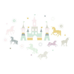 "The Lovely Wall Co - Magical Unicorns - Wall Decal - Main Castle - 13"" Tall"